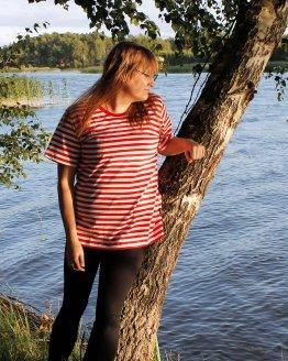 T-paita, puna-valkoraitainen