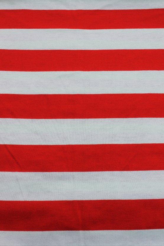 Puna-valkoinen trikoo